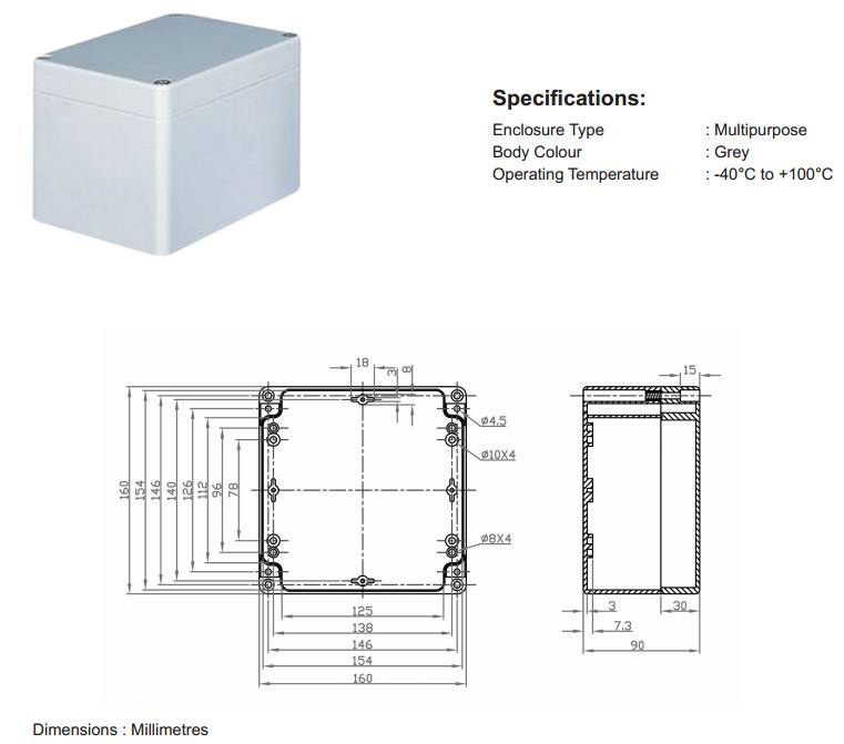 Enclosure 160x160x90mm