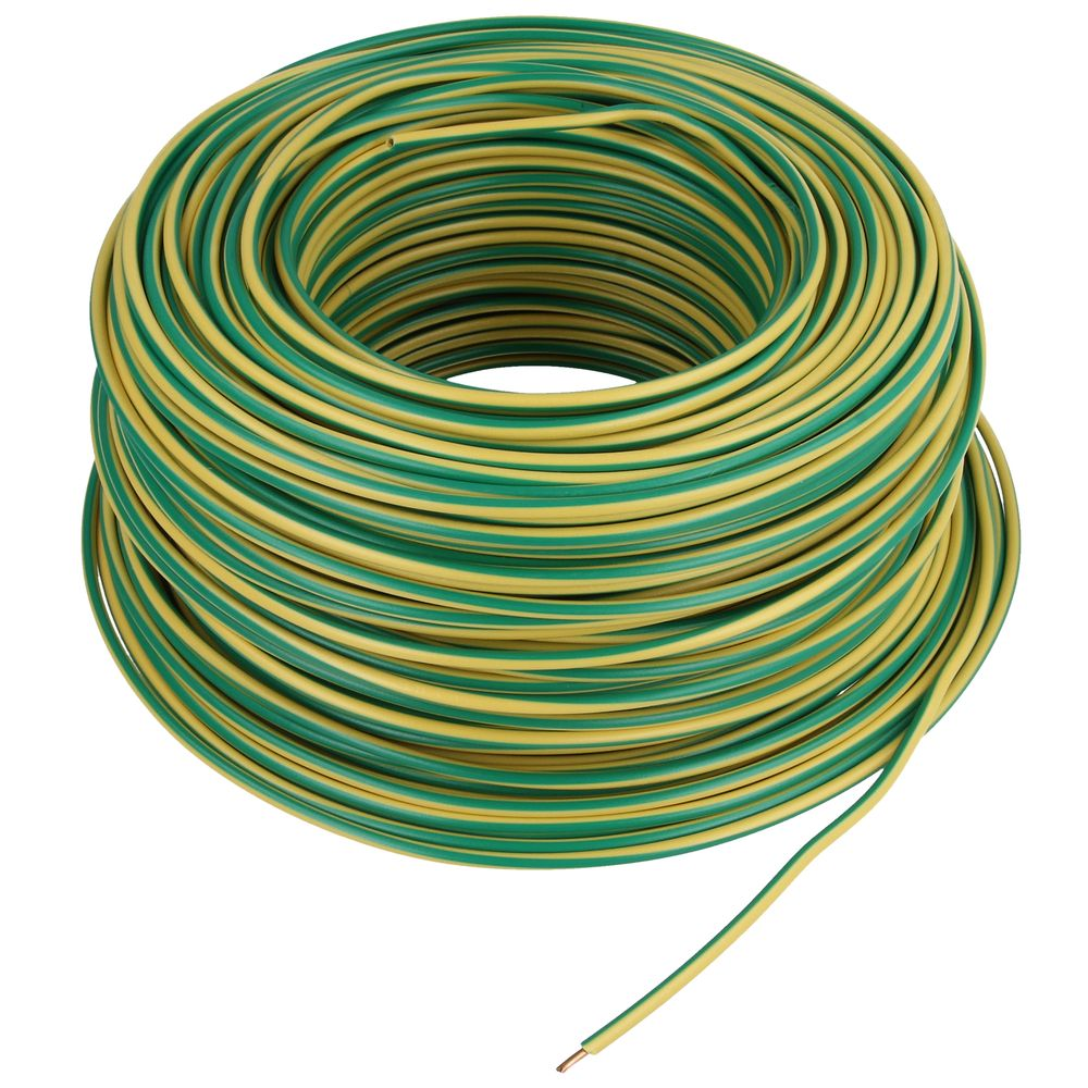 6mm² wire Yellow-Green 1m